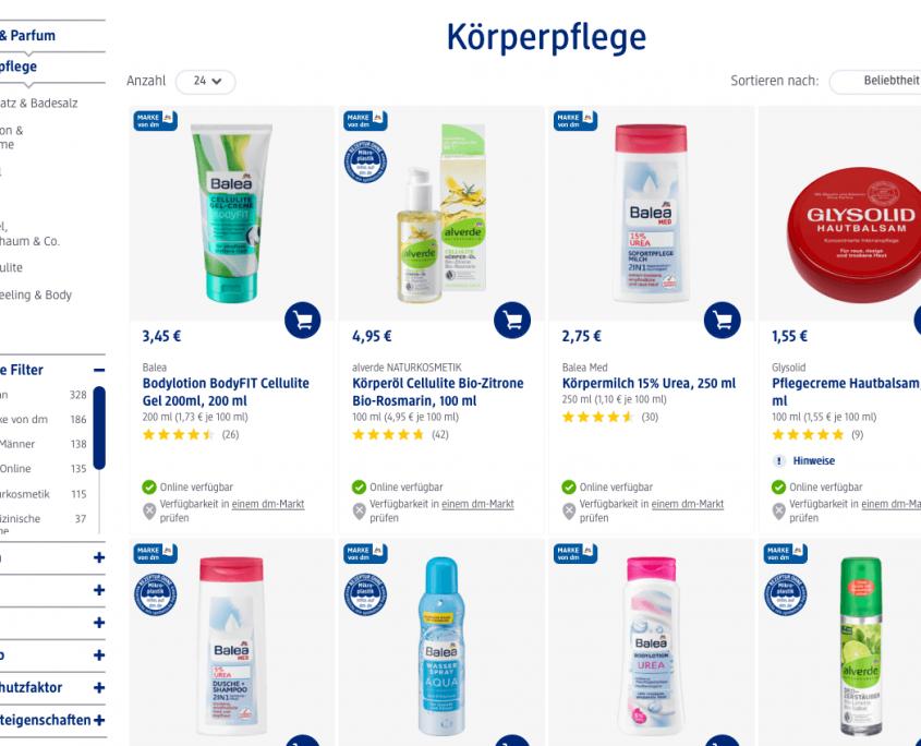 Produkte im Bereich Körperpflege