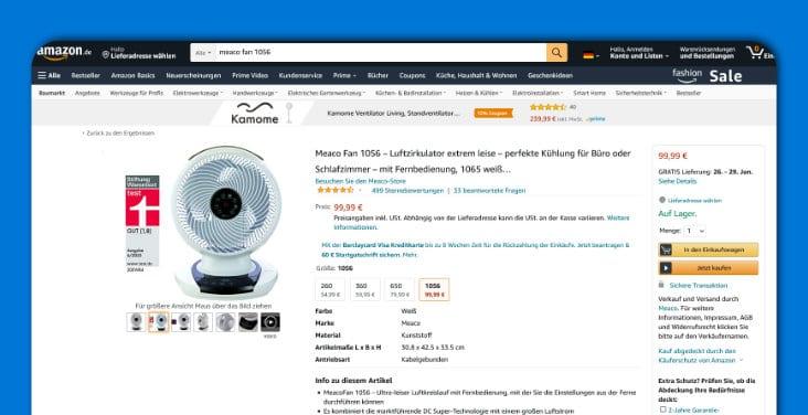 Screenshot Amazon - Meaco Fan 1056