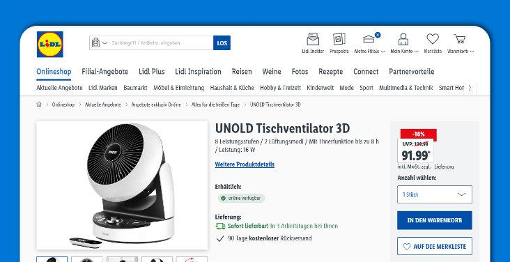 Screenshot Lidl - Unold Tischventilator 3D 86840
