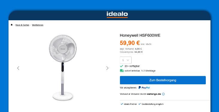 Screenshot idealo - Honeywell HSF600WE