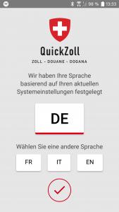 QuickZoll-App Auswahlbildschirm der Sprache
