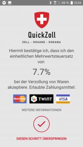 QuickZoll-App Hinweis zur Mehrwertsteuer