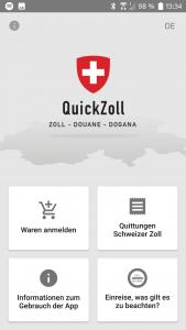 QuickZoll-App Bildschirm mit Button, um Waren anzumelden