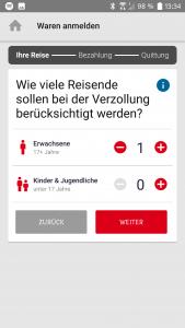 QuickZoll-App Personenanzahl auswählen