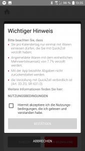 QuickZoll-App Wichtiger Hinweis zum Mehrwertsteuersatz