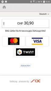 QuickZoll-App Auswahl der Zahlungsmethoden