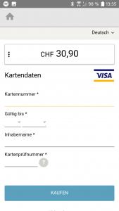 QuickZoll-App: Seite um Kreditkartendaten einzugeben