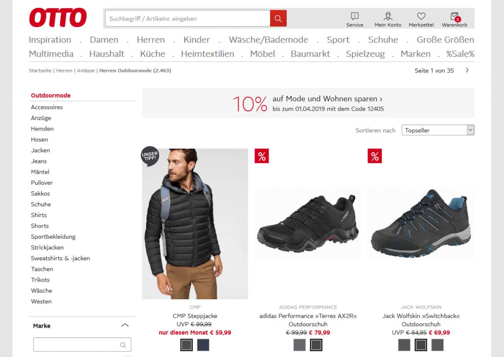 Screenshot von Otto.de