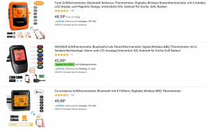 Screenshot Grillthermometer auf Amazon