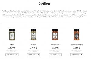 Screenshot diverse Grillgewürze
