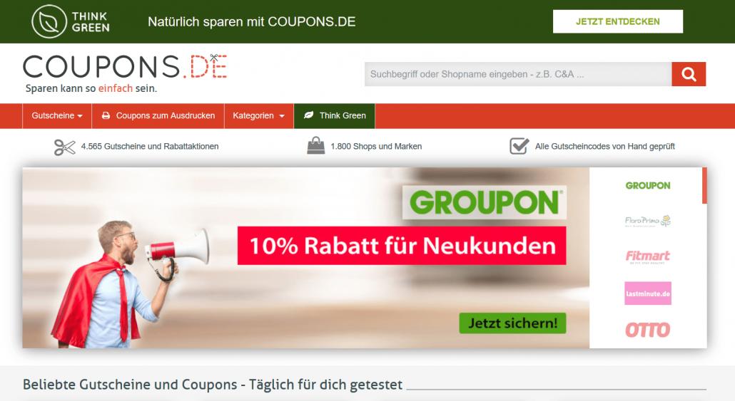Startseite von Coupons.de