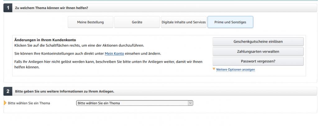 Amazon Kontaktservice kontaktieren