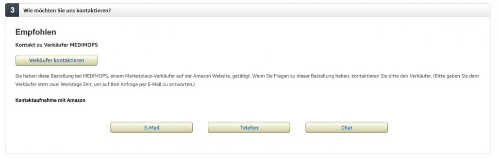 Kontaktmöglichkeiten um zum Amazonsupport zu kommen