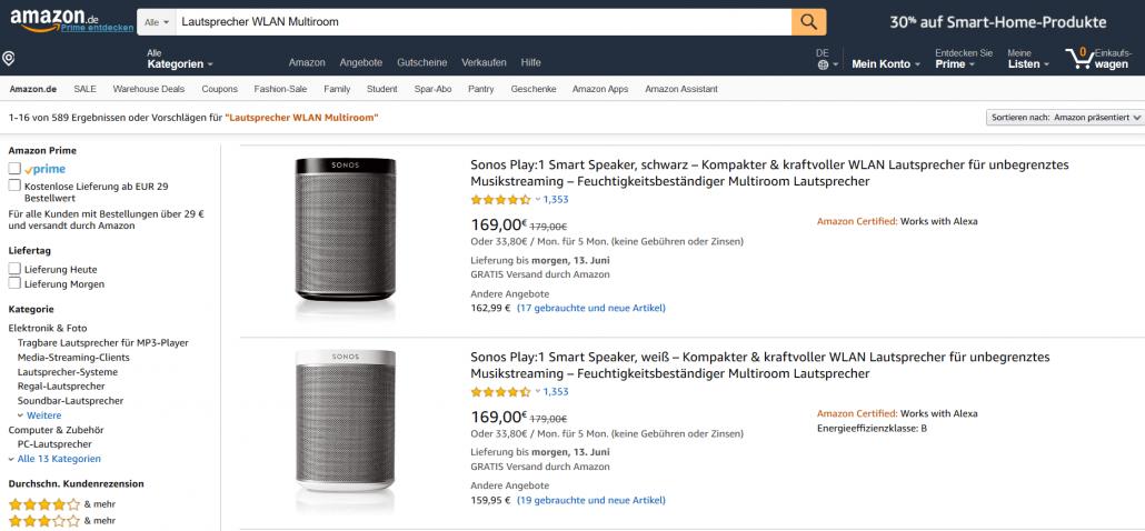 Produktsuche auf Amazon