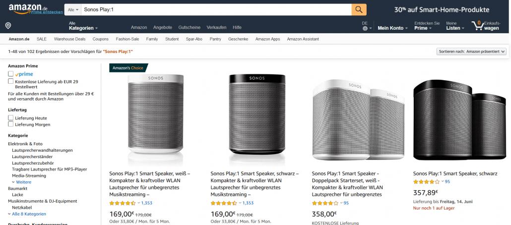 Suche nach Sonos Play:1