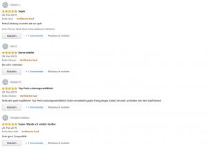 Bewertungen auf Amazon für Kopfhörer