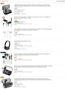 """Suchergebnisse """"Kopfhörer"""" auf Amazon"""