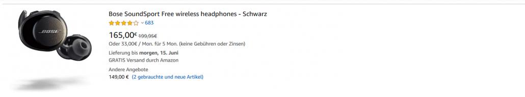 Screenshot Bose Kopfhörer auf Amazon