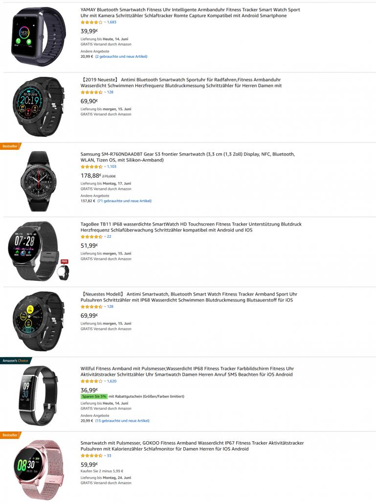 Suchergebnisliste Amazon