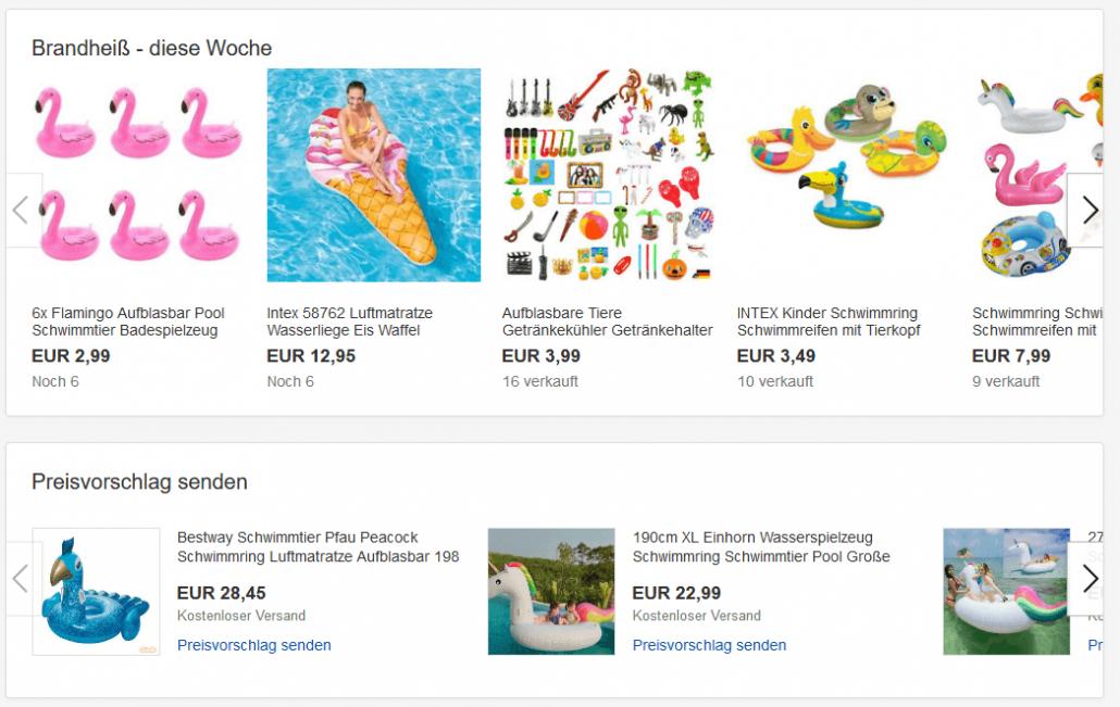 Übersicht über diverse Aufblastiere auf ebay