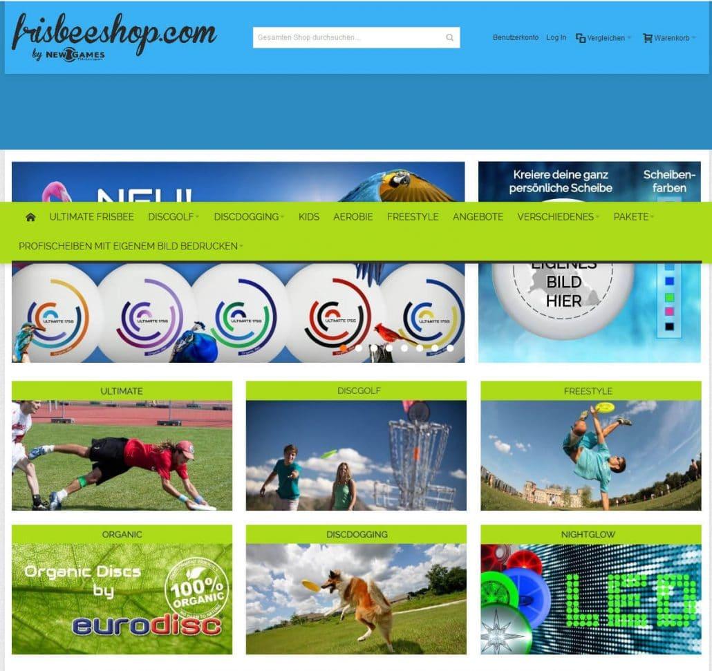 Startseite von Frisbeeshop.com