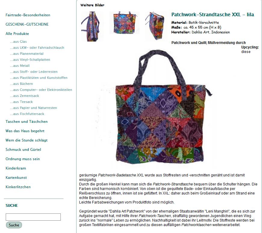 Artikelbeschreibung einer Strandtasche aus Stoffresten