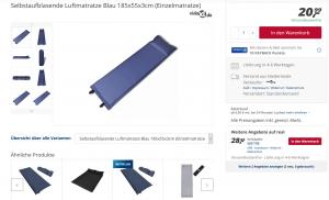 Produktbeschreibung selbstaufblasende Luftmatratze