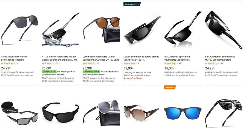 Übersicht Sonnenbrillen
