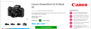 Online-Shop-Angebot einer Kompaktkamera