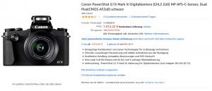 Die Canon Powershot G1 X Mark III bei Amazon