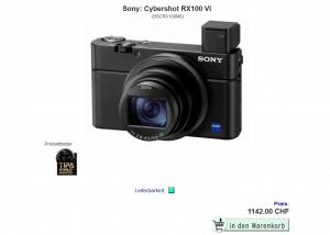 Screenshot Onlineshop für Kameras