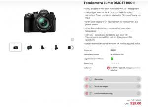 Bridgekamera im Angebot eines schweizerischen Onlineshops