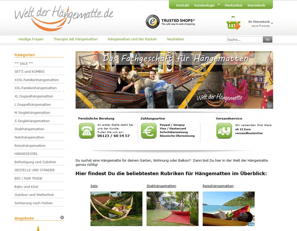 Startseite des Shops welt-der-haengematte.de