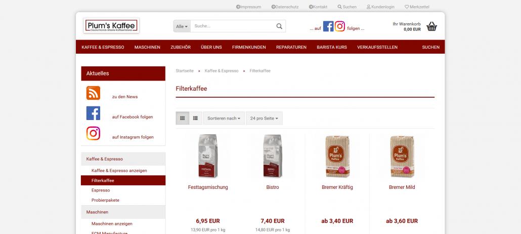 Startseite des Shops von Plum's Kaffee