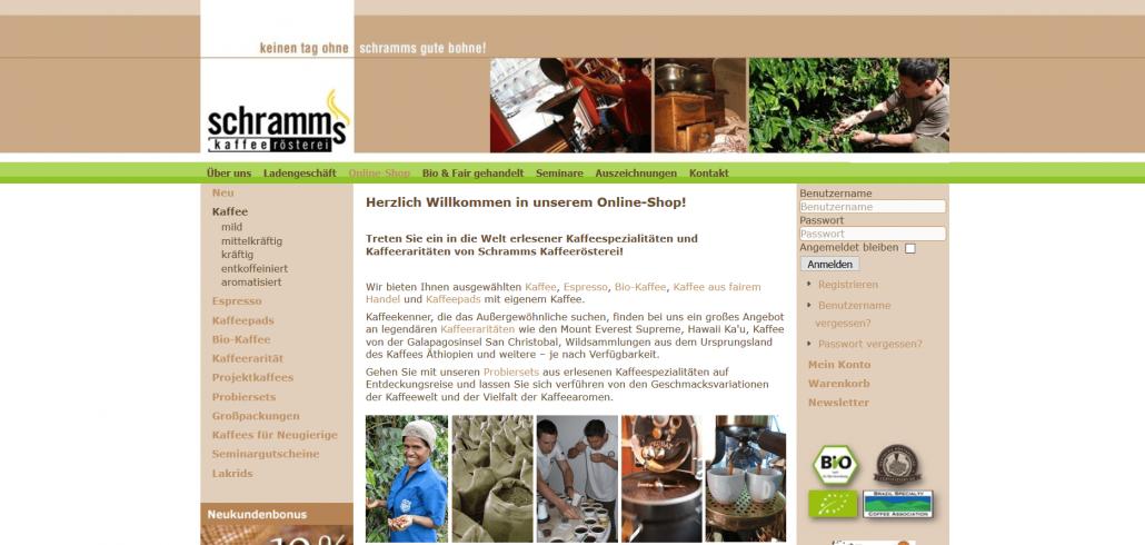 Startseite Schramms Kaffeerösterei