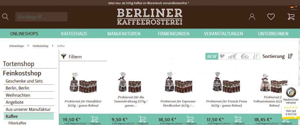 Screenshot der Kaffeerösterei