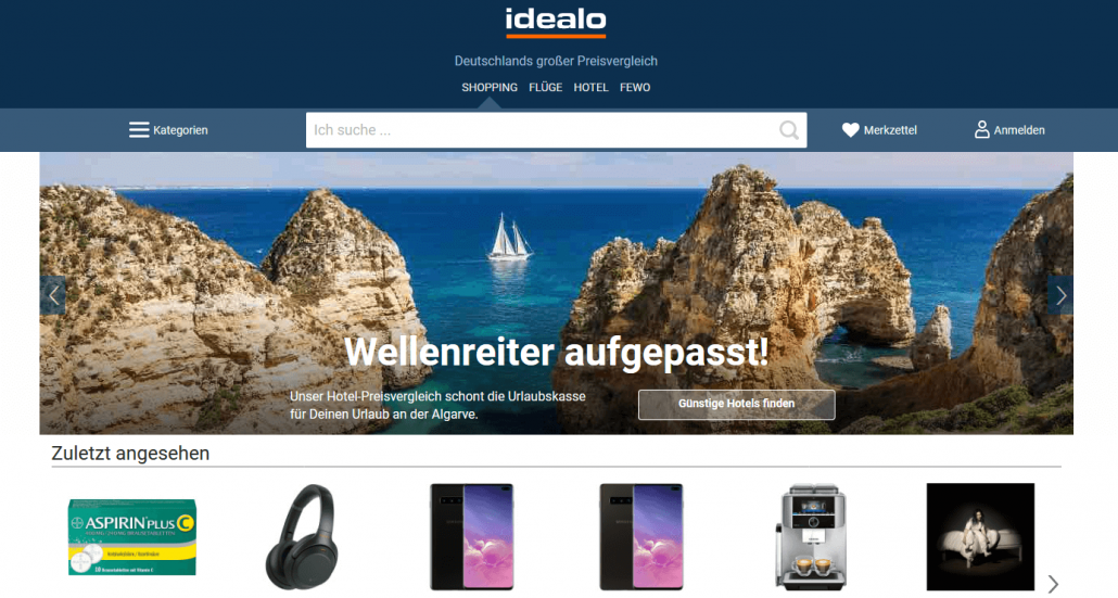 Screenshot Startseite idealo.de