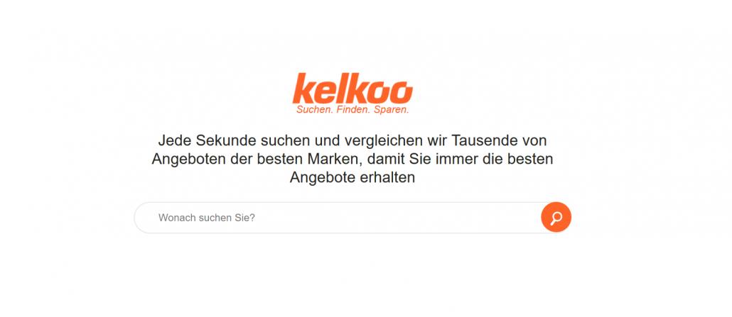 Startseite des Preisvergleichsportals www.kelkoo.de