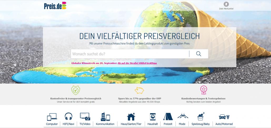 Startseite des Preisvergleichsportals preis.de