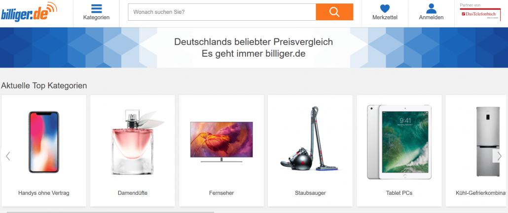 Startseite des Preisvergleichsportals billiger.de