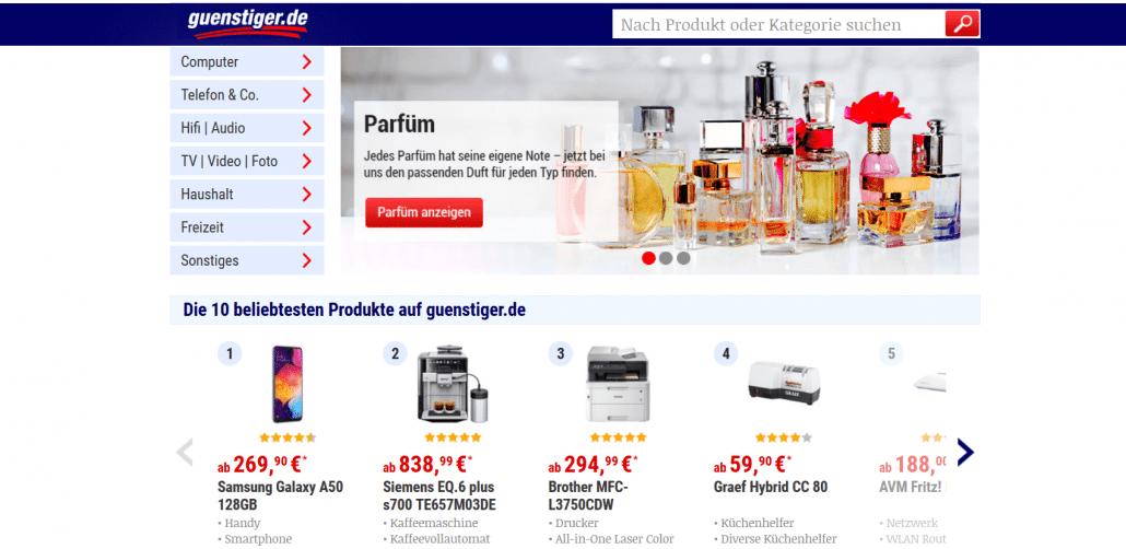 Startseite des Preisvergleichsportals  günstiger.de