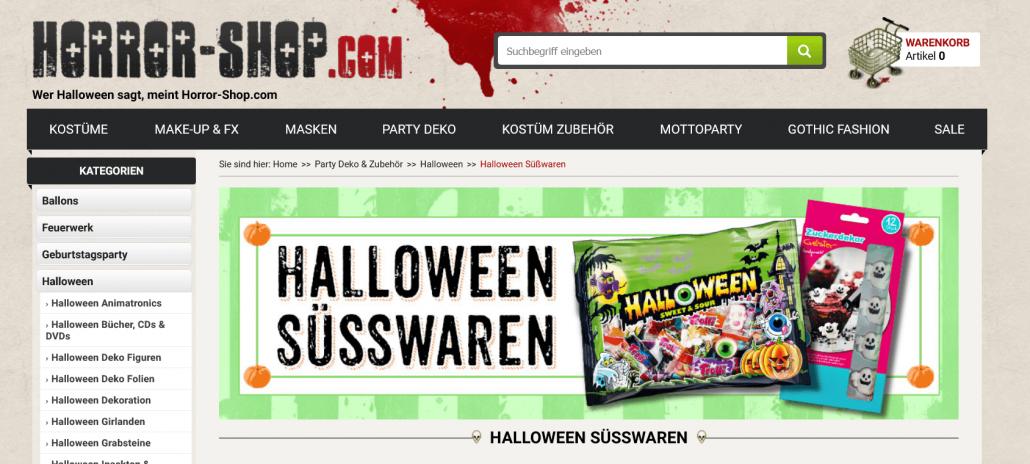 Screenshot von Horror-Shop