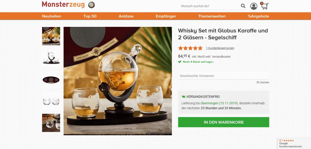 Whisky-Set mit Segelschiff