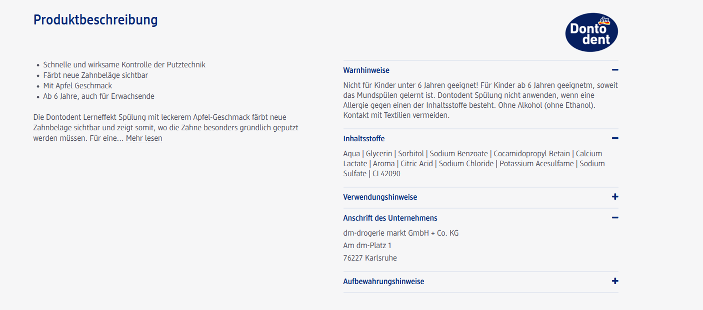 Produktbeschreibung dm.de
