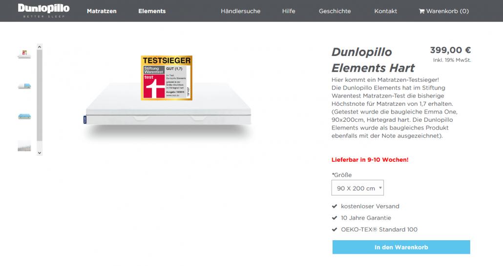 Die Dunlopillo Element Hart im Screenshot
