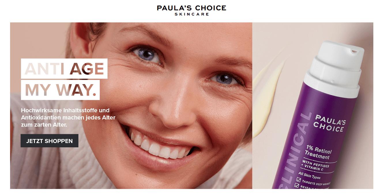 Screenshot der Startseite von Paulas Choice
