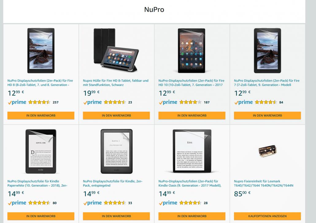 Startseite der Produktpalette der Eigenmarke NuPro