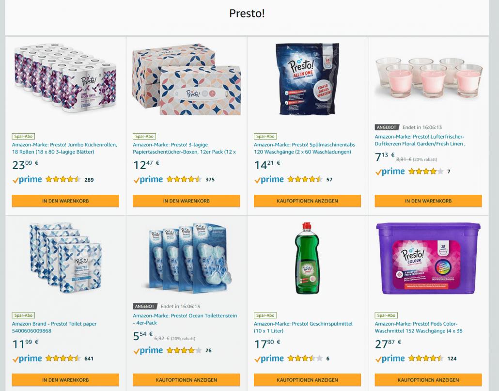 Amazon Eigenmarke Presto