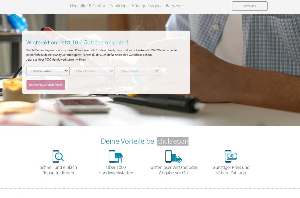 Startseite des Online-Reparatur-Marktplatzes clickrepair (Screenshot www.clickrepair.de)
