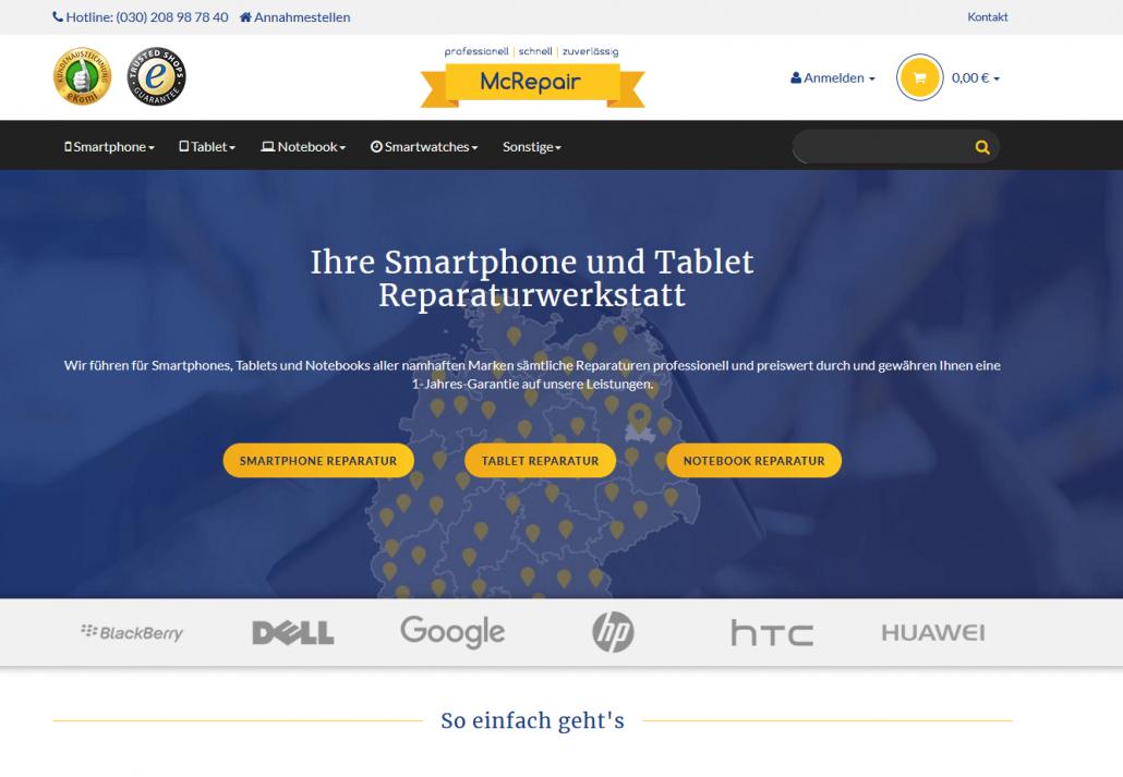 Startseite des Online-Angebots von www.mcrepair.de (Screenshot www.mcrepair.de)